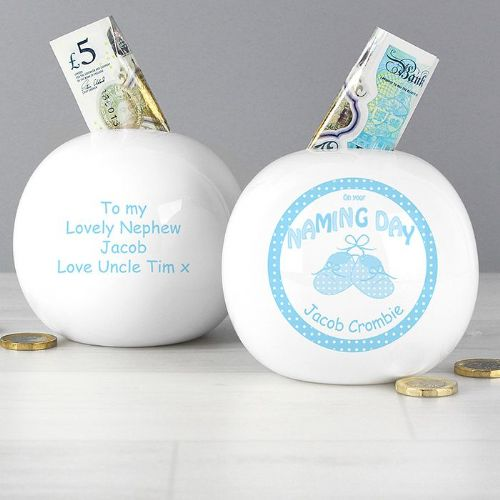 Personalised Bootee Blue Naming Day Money Box